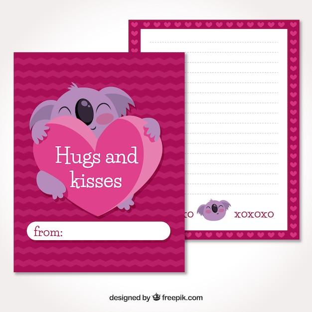 Carte de voeux saint valentin Vecteur gratuit
