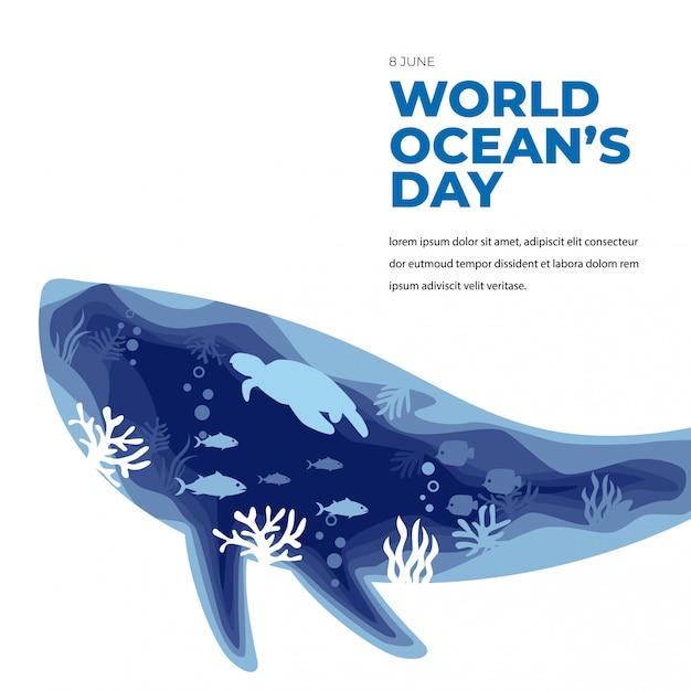Carte De Voeux Sous-marine De La Journée Mondiale De L'océan Avec Une Baleine Et Une Tortue Vecteur Premium