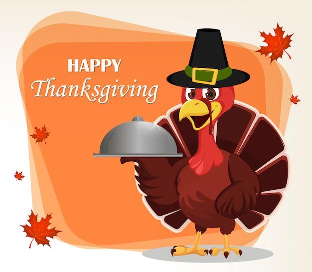 Carte de voeux de thanksgiving avec un oiseau de dinde Vecteur Premium