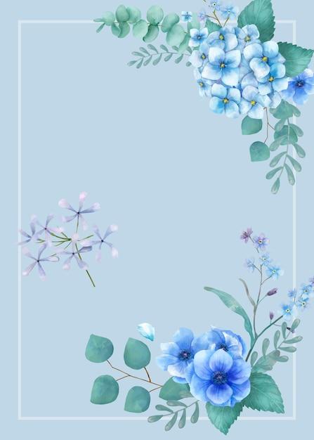 Carte de voeux sur le thème bleu avec feuilles miniatures Vecteur gratuit
