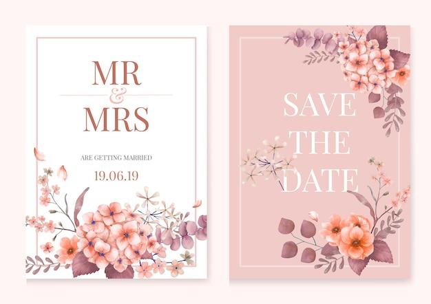 Carte de voeux avec thème rose et floral Vecteur gratuit