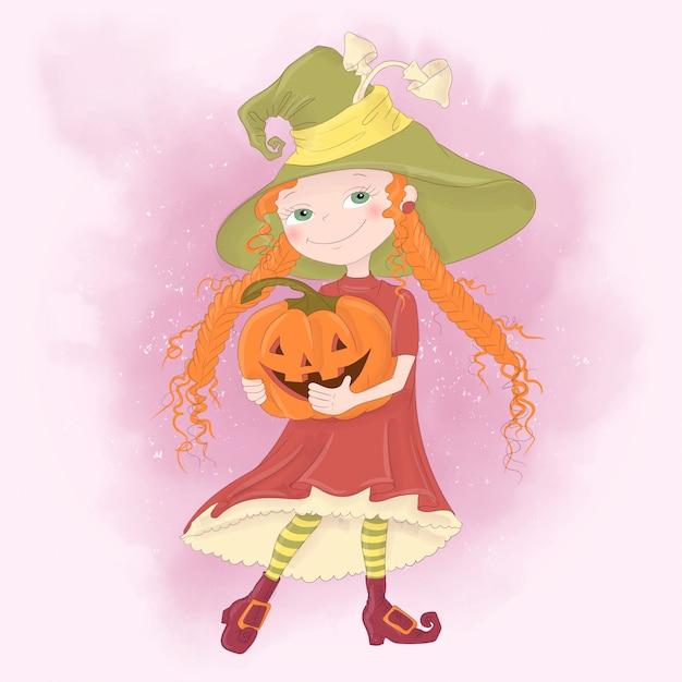 Carte de voeux de vacances halloween avec jolie sorcière, citrouille Vecteur Premium