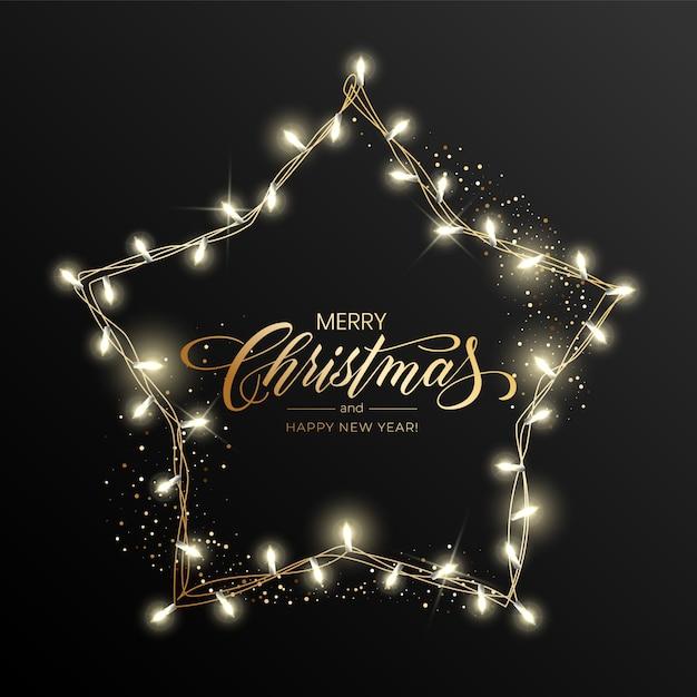 Carte de vœux de vacances pour joyeux noël avec une guirlande lumineuse et l'inscription joyeux noël et bonne année. Vecteur Premium