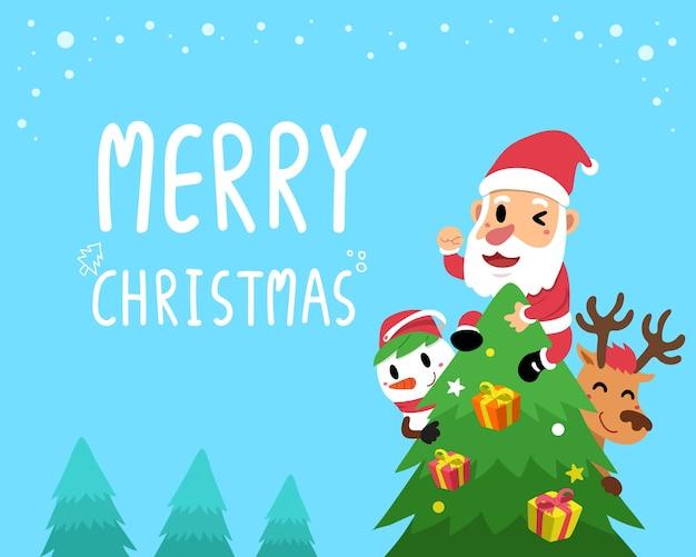 Carte De Voeux Vecteur Joyeux Compagnons De Noël Vecteur Premium