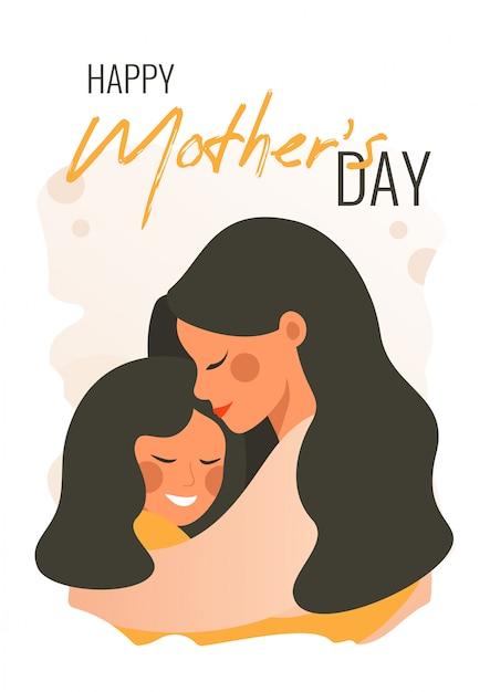 Carte de voeux de vecteur pour la fête des mères Vecteur Premium