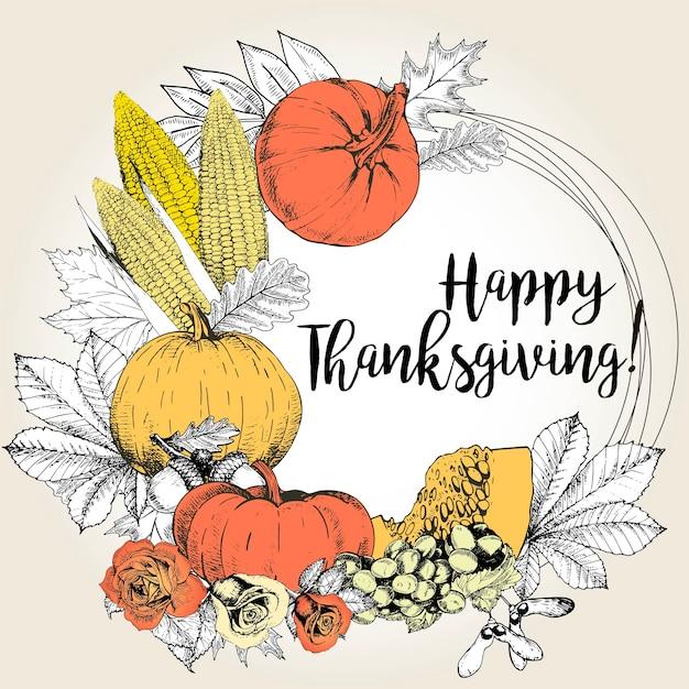 Carte de voeux de vecteur pour thanksgiving. dessiné à la main. Vecteur Premium