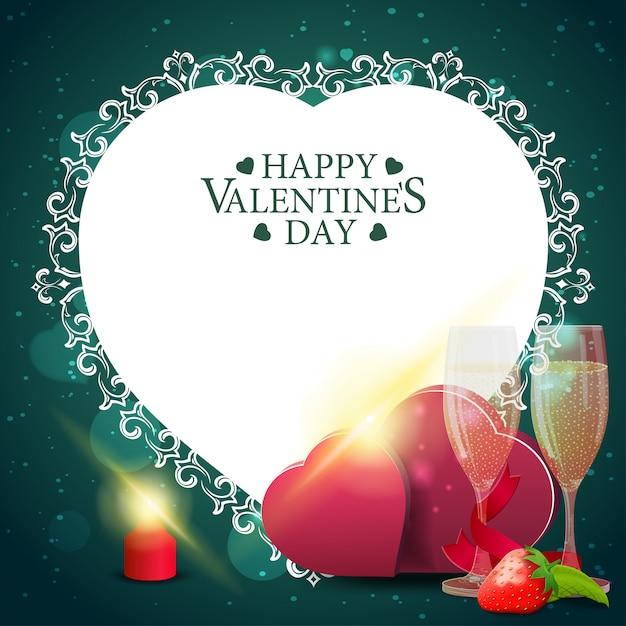 Carte de voeux verte saint valentin Vecteur Premium