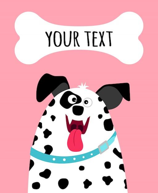 Carte de voeux avec visage de chien dalmatien heureux et place pour texte sur rose Vecteur Premium