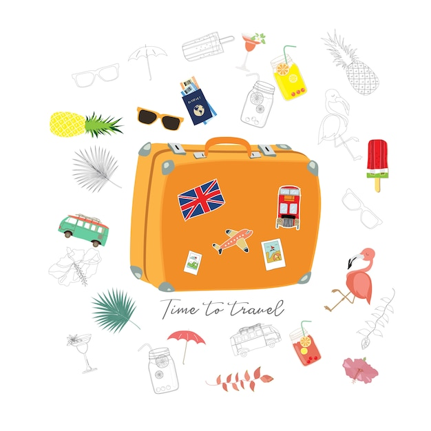 Carte de voeux de voyage avec bagages, fourgonnette, passeport, avion, flamant rose, fleur et glace Vecteur Premium