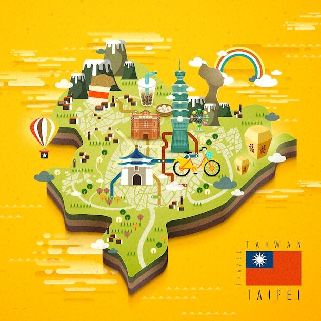 Carte De Voyage Des Attractions Célèbres De Taipei Vecteur Premium