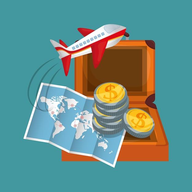 Carte de voyage pièces valise avion Vecteur Premium