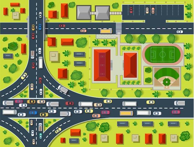 Carte d'une vue de dessus des toits, rues de la ville, arbres Vecteur Premium