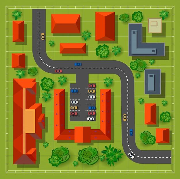 Carte d'une vue de dessus des toits, rues de la ville Vecteur Premium