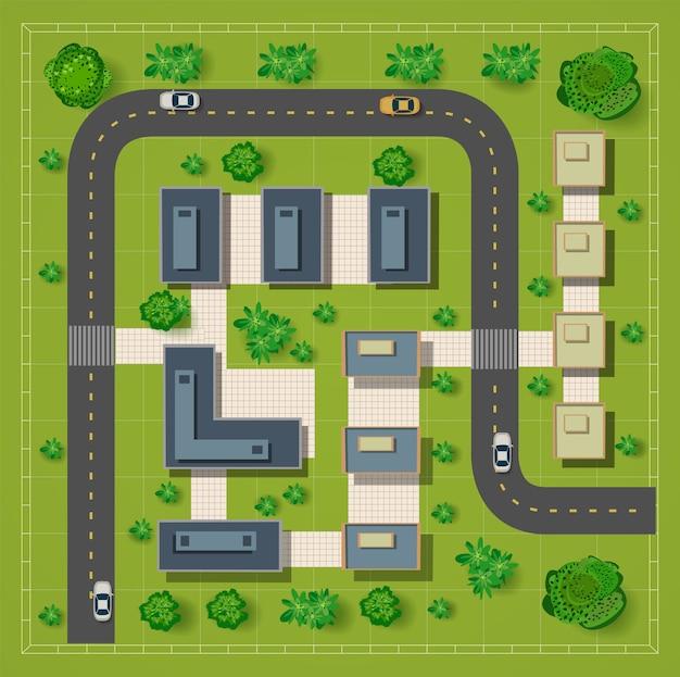 Carte d'une vue de dessus des toits Vecteur Premium
