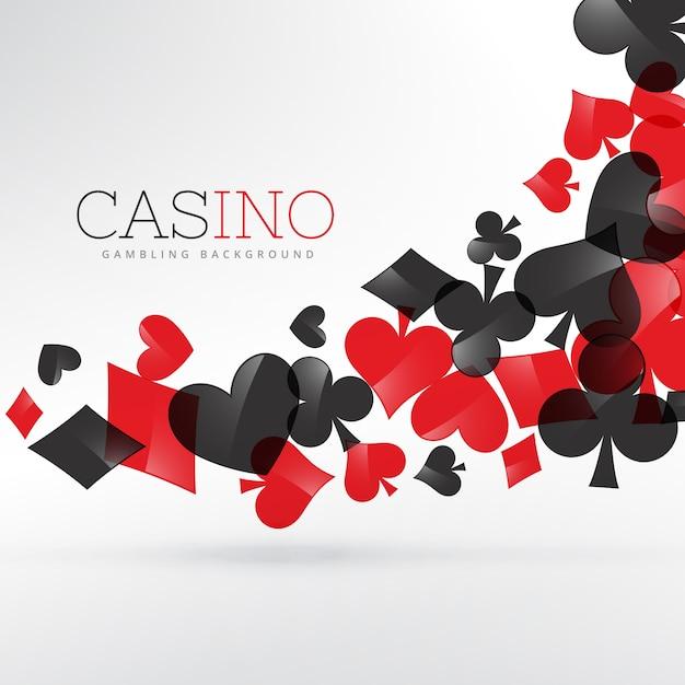 cartes à jouer casino symboles flottants en arrière-plan gris Vecteur gratuit