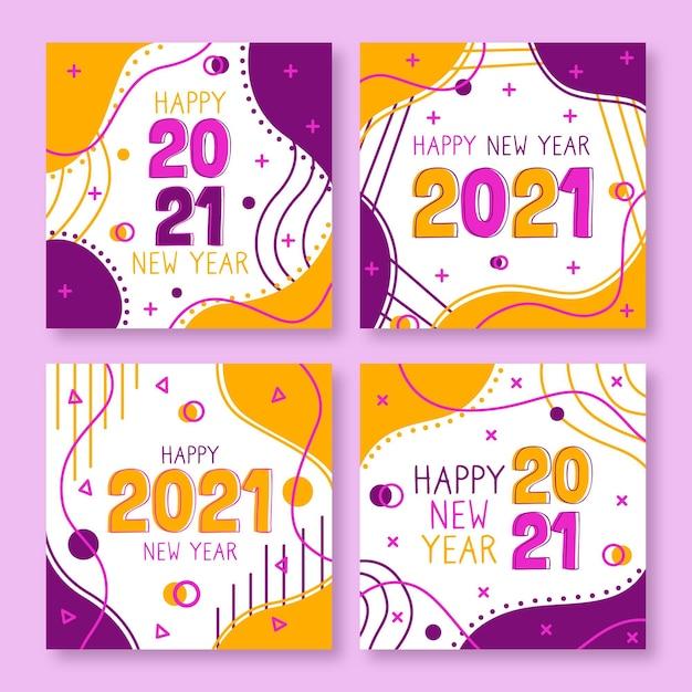 Cartes Abstraites Du Nouvel An 2021 Vecteur gratuit