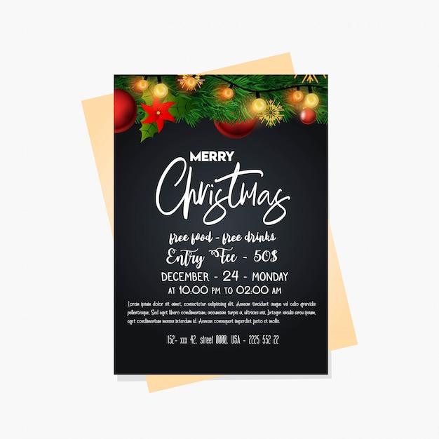 Cartes et affiche de fête de noël Vecteur gratuit