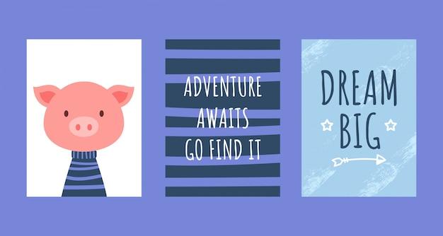 Cartes d'anniversaire avec citations, cochon mignon Vecteur Premium