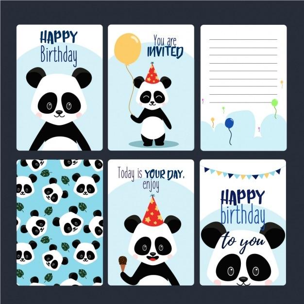 Les Cartes D'anniversaire Collection Vecteur gratuit
