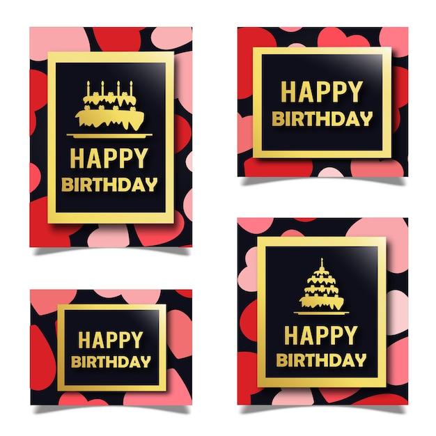 Cartes D'anniversaire De Modèle De Vecteur Vecteur gratuit