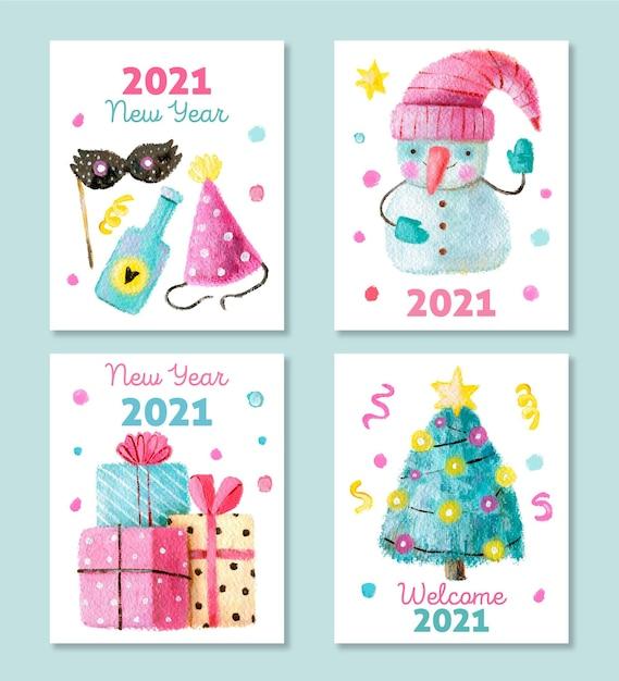 Cartes Aquarelle Nouvel An 2021 Vecteur gratuit