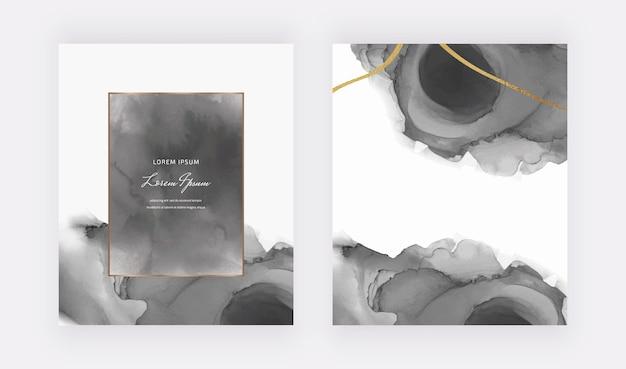 Cartes Aquarelles Noires Avec Cadres Géométriques Et Lignes De Paillettes Dorées Vecteur Premium