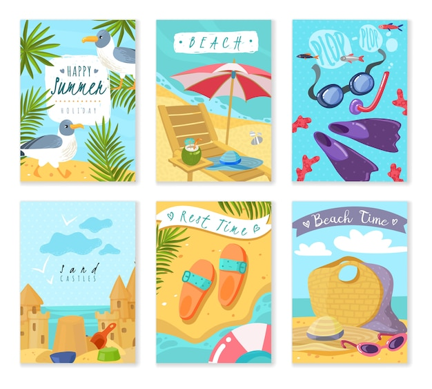 Cartes D'articles De Vacances D'été. Ensemble De Six Cartes Verticales Avec Accessoires De Plage De Vacances D'été Inventaire Les Attributs Du Reste Des Feuilles Tropicales Sable Et Mouette Vecteur Premium