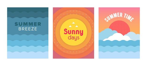 Cartes Artistiques Uniques D'été Avec Un Dégradé Lumineux Vecteur Premium