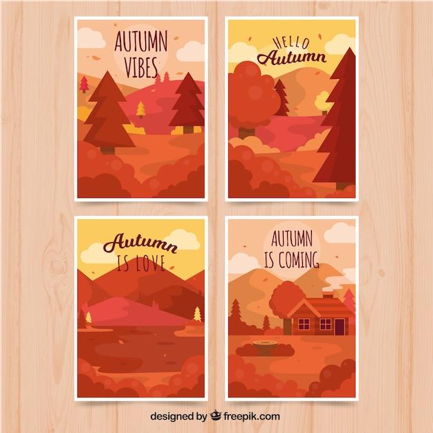 Cartes d'automne avec de beaux paysages Vecteur gratuit