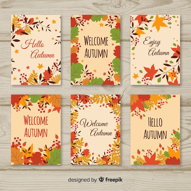 Cartes d'automne colorées avec des feuilles Vecteur gratuit
