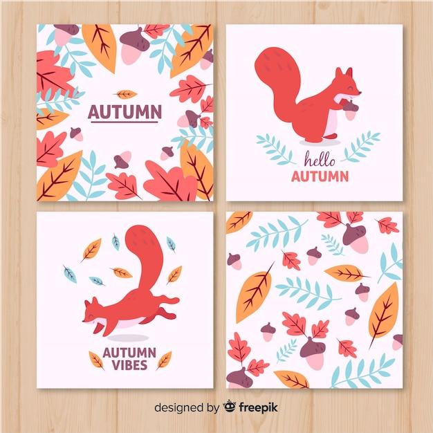 Cartes d'automne dessinées à la main collectio Vecteur gratuit