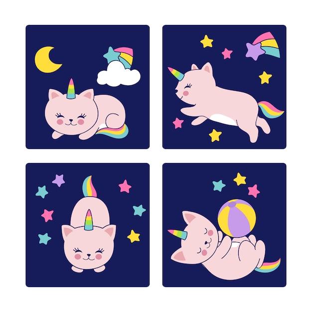 Cartes de bonne nuit avec illustration de chats endormis Vecteur Premium