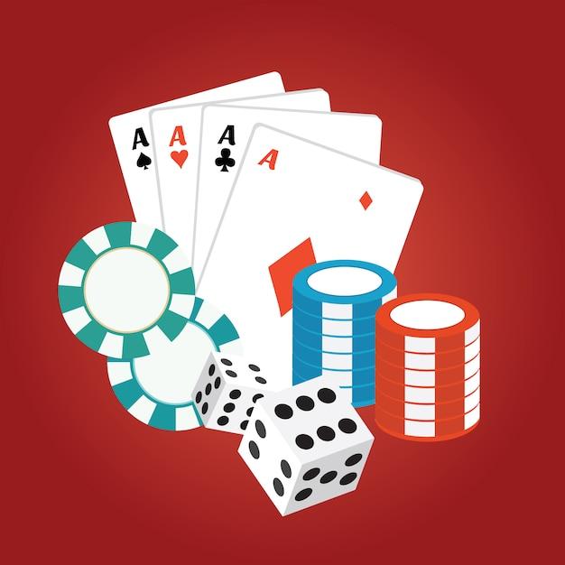 Cartes de casino et des frites sur fond rouge Vecteur gratuit