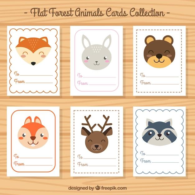 Cartes de collection de beaux animaux en design plat Vecteur gratuit