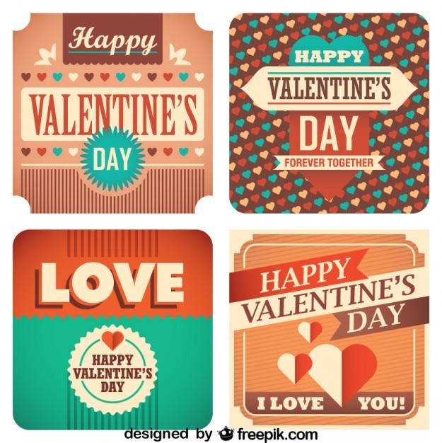Cartes de collection rétro jour de valentine Vecteur gratuit