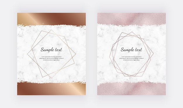 Cartes De Conception En Marbre Avec Cadres Polygonaux Géométriques Dorés Et Coup De Pinceau En Or Rose. Vecteur Premium