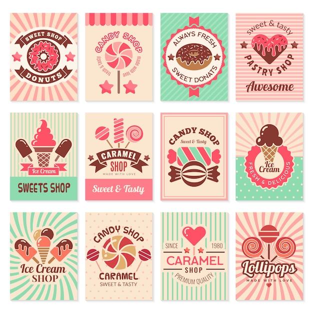 Cartes De Confiserie. Desserts Sucrés Symboles De Confiserie Pour La Collection De Flyers De Menu De Restaurant Vecteur Premium