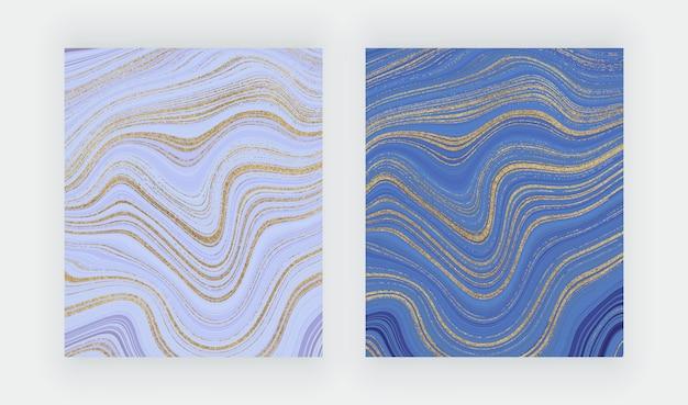 Cartes De Coup De Pinceau Aquarelle Rose Et Violet Avec Effet De Marbre Géométrique. Vecteur Premium