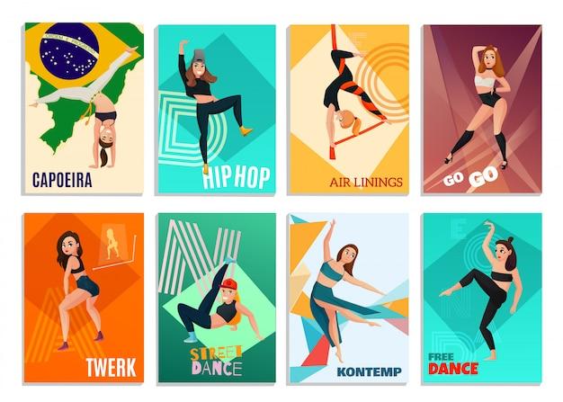 Cartes De Danses Modernes Vecteur gratuit