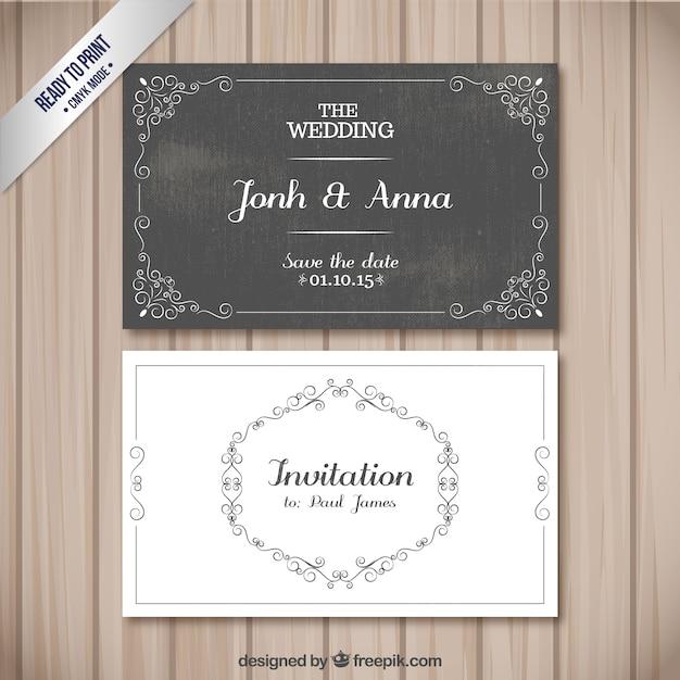 Cartes de mariage rétro Vecteur Premium
