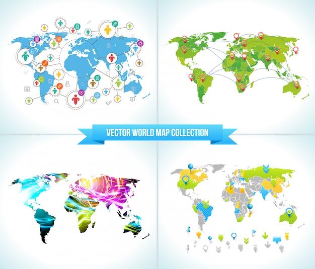 Cartes du monde du réseau social Vecteur Premium