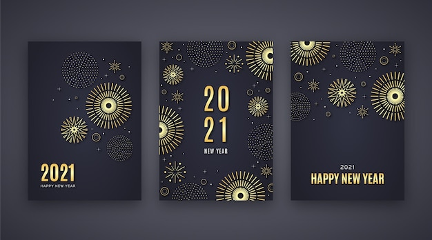 Cartes Du Nouvel An Doré 2021 Vecteur gratuit