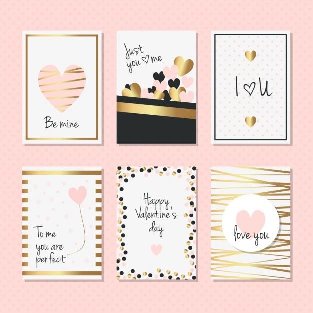 Cartes élégantes avec des détails dorés pour saint valentin Vecteur gratuit