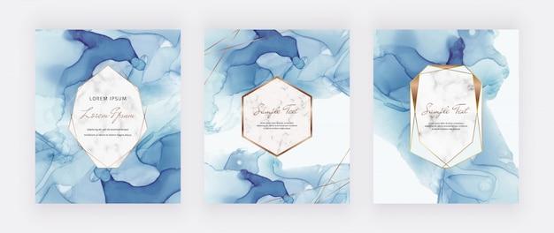 Cartes à Encre Alcool Bleu Avec Cadres Polygonaux En Marbre Et Or Vecteur Premium