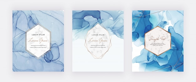 Cartes D'encre Alcool Bleu Sertie De Cadres Polygonaux En Marbre Et Or. Vecteur Premium