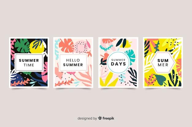 Cartes d'été dessinées à la main Vecteur gratuit