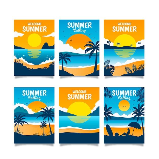 Cartes d'été plat Vecteur gratuit