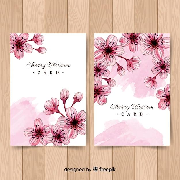 Cartes de fleurs de cerisier Vecteur gratuit