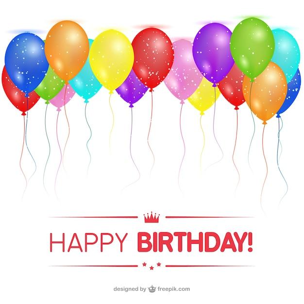 Cartes happy birthday avec des ballons Vecteur gratuit