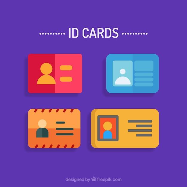 Cartes d'identification définies Vecteur gratuit
